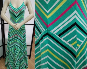 Vintage Designer Dress 1970s Clovis Ruffin Long Bright Colored Chevron Print Bias Cut Spaghetti Strap Dress Art Deco Boho 70s does 30s M