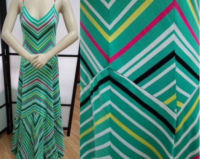 Featured listing image: Vintage Designer Dress 1970s Clovis Ruffin Long Bright Colored Chevron Print Bias Cut Spaghetti Strap Dress Art Deco Boho 70s does 30s M
