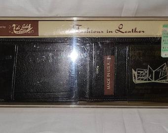 DEADSTOCK 1970s Wallet Men's Black Leather Wallet Billfold Di Lido Originals Unused NIP Made in USA