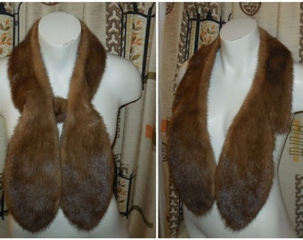 Vintage Fur Scarf 1950s 60s Light Brown Mink Fur Stole Elegant Mink Fur Collar Boho 45 inches long