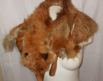 Vintage Fur Stole 1950s Fluffy Red Fox Fur Wrap Head and Feet Fox Fur Scarf Glamour Boho slight musty smell