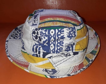 Unworn Men's Hat 1960s 70s Fabric Roll Up Sun Hat Cool Multi Color Abstract Print NWT USA Boho M