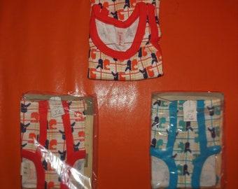 DEADSTOCK Boy's Underwear Set + 2 Pair Underwear 1970s Unworn Bright Geo Pattern Cotton Undershirt and Briefs NIP German Conta Mod  sz 116