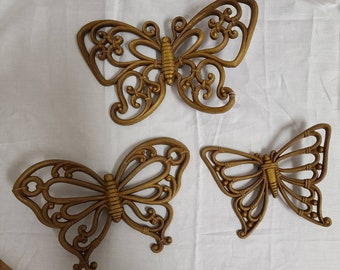 Vintage 1970s Butterfly Wall Hangings Syroco Faux Wood Set of 3 Butterflies Hippie Boho