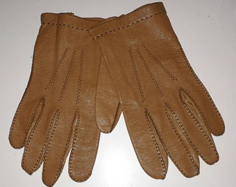 Vintage Leather Gloves 1960s 70s Thin Cognac Tan Brown Soft Leather Gloves Women's Men's Unisex Mod Winter Gloves M L