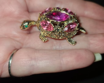 Vintage Turtle Brooch Small 1960s Gold Metal Pink Rhinestone Turtle Pin 1.75 x 1 inch