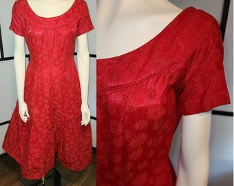 Vintage 1950s Dress Lipstick Red Satin Floral Brocade Fit and Flare Dress Stiff Full Skirt Rockabilly Pinup M chest 38 in.