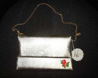 SALE Vintage 1960s Purse Unused Gold Metallic Fabric Evening Bag Clutch Rose Applique Long Metal Chain NWT Rockabilly Mod