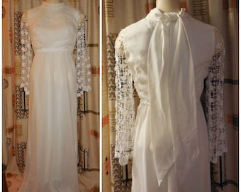 Vintage 1960s 70s Wedding Dress Long White Crepe Wedding Gown Open Floral Lace Cage Bell Sleeves Bridal Hippie Boho Mod S