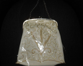 Vintage 1950s Purse Clear Vinyl Floral Pattern Sequins Chain Handle USA Rockabilly