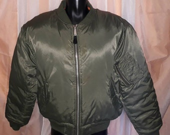 Vintage Flight Jacket MA-1 Dark Green Nylon Bright Orange Bomber Jacket Reversible US Air Force Padded Jacket Large Zipper Mod XL