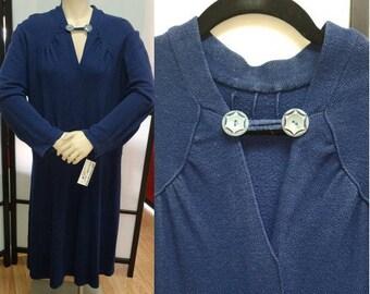 Vintage 1920s 30s Dress Heavy Blue Wool Blend Drop Waist Dress German Art Deco Flapper Bakelite Buttons L XL chest hips to 44 in.