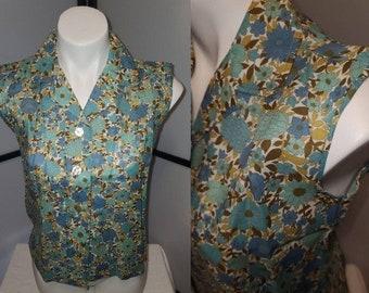Unworn Vintage Blouse 1950s Sleeveless Cotton Blue Floral Print Blouse Rockabilly Boho M
