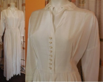 Vintage 1950s Wedding Dress Long Cream Rayon Wedding Gown Round Pearl Buttons Elegant Classic Rockabilly Bridal M chest to 38 in. some flaws