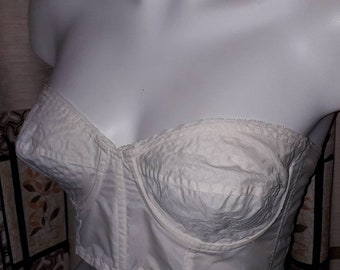 Unworn Vintage Bra 1950s Semi Sheer Strapless White Nylon Bullet Bra Circle Stitching German Rockabilly Pinup Wedding Bridal M 38 85 C