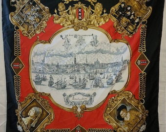 Vintage Scarf 1970s Red Gold Amsterdam Souvenir Scarf Thin Polyester Historic Dutch Scenes 29 x 30 in.