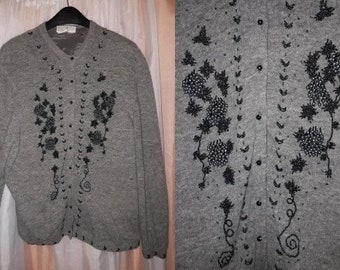 Vintage Cardigan Sweater 1950s Style Beaded Gray Wool Angora Blend Rockabilly L XL as is