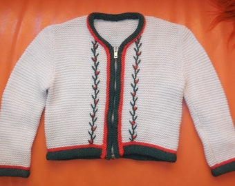 Vintage Girl's Sweater 1960s 70s Child's Cream Cardigan Sweater Red Green Floral Embroidery Zip Front German Rockabilly Boho chest to 24 in.
