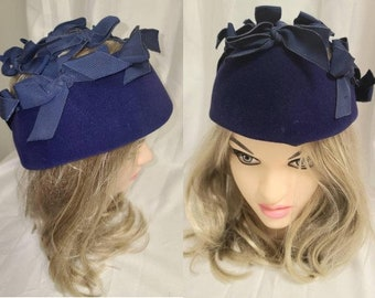 Vintage 1950s Hat Blue Velvet Open Top Made of Large Ribbon Bows Mr. John Rockabilly 22 in.