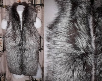 Vintage Fox Fur Scarf 1960s Long Soft Fluffy Silver Fox Fur Wrap Stole Trim Brown Silver Markings German Boho Glamour 60 in. long