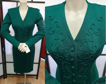 Vintage 1980s Dress Dark Green Wiggle Dress Buttons Down Front Hourglass Soutache Trim Long Sleeve Boho Christmas S chest 37 in.