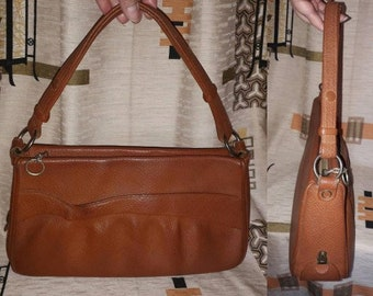 Vintage 1950s Purse Cognac Brown Leather Top Handle Bag German Rockabilly