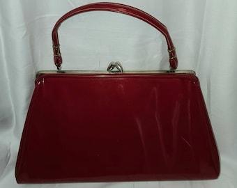 Vintage 1950s Purse Large Shiny Cherry Red Vinyl Purse Rockabilly