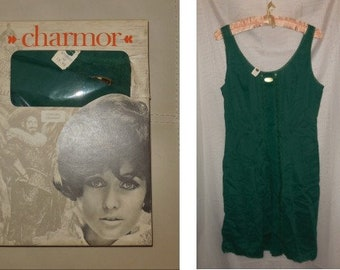 DEADSTOCK 1960s Slip Chamor Dark Green Nylon Lace German Pinup Rockabilly Mod Unterkleid NWT in Box M L