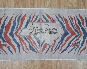 Vintage Scarf North Carolina Federation of Republican Women 1976 Bicentennial Scarf 44 x 14 in.