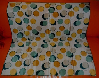 SALE Vintage Silk Scarf Loredano Italy 1960s 70s Large Designer Silk Scarf Yellow Green Abstract Circle Pattern 34 x 34 in.