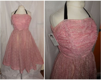 Vintage 1950s Dress Sheer Pink Embroidered Nylon Ruched Bodice Full Skirt Prom Dress Ball Gown USA Rockabilly XS S chest to 34 in.