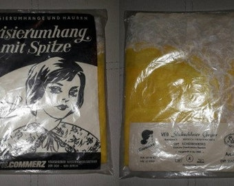 Unused Vintage Hairdresser Cape 1960s Sheer Yellow Nylon Salon Cape White Lace Trim NIP German DDR Friseurumhang