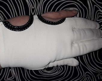 Vintage Mod Gloves 1960s Open Circle Cutout Pinkie Black Vinyl Trim White Nylon Stretch Gloves Ultra Mod Space Age 6 6 1/2