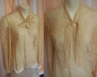 Vintage Lace Blouse 1960s 70s Sheer Beige Floral Lace Blouse Long Sleeves Tie Bow at Neck Pussy Bow Sexy Secretary M chest to 39 in.