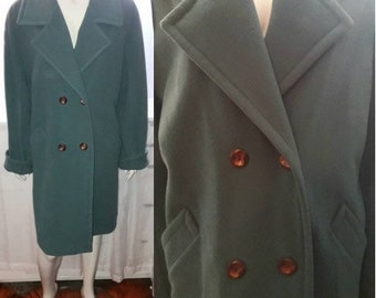Vintage Wool Coat Classic Sage Green Midlength Wool or Cashmere Coat Satin Lining Made in Italy Preppy Boho Unisex Look chest to 44 in.