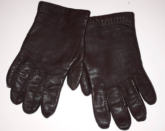 Vintage Leather Gloves 1960s 70s Dark Gray Brown Soft Leather Gloves Woven Detail Lined Men's Women's Unisex Mod Winter Gloves M L