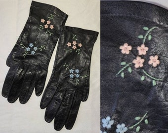 Vintage Leather Gloves 1950s Thin Black Floral Embroidered Kid Leather Wrist Gloves Blue Pink Flowers Rockabilly 6 1/2