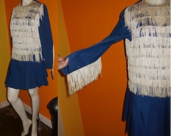 SALE Vintage 1950s 60s Majorette Uniform Marching Band Baton Twirler Outfit Fringe USA High School Rockabilly Fasching S chest to 36 in.