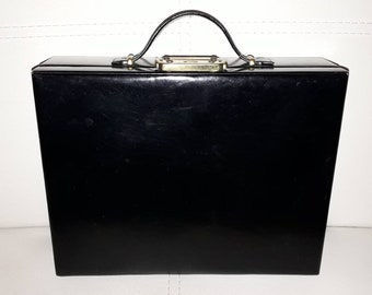 Vintage Jewelry Case 1950s 60s Hard Black Leather Jewelry Travel Train Case Red Fabric Lining Rockabilly