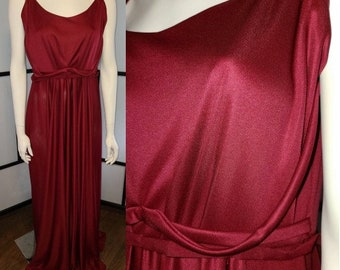 Vintage Long Gown 1970s Slinky Maroon Nylon Maxidress Greek Goddess Grecian Gown Unique Details Prom Boho L