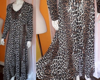 Vintage 1960s Jumpsuit Nylon Leopard Print Wide Leg Lingerie Hostess Dress Butterfield 8 Movie Liz Taylor USA Mod Pinup L XL