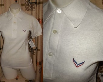 Vintage Polo Shirt Unworn 1970s White Tennis Shirt Red Blue Logo West Germany Preppy S chest to 35 in.