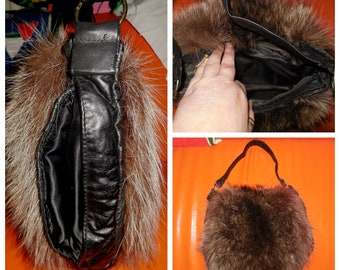 SALE Vintage Fur Muff 1980s Fluffy Raccoon Fur Leather Purse with Handwarmer Boho Mod