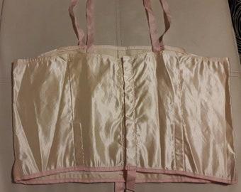 Vintage Flapper Bra 1920s 30s Light Pink Satin Longline Bralette German Art Deco chest 36 in.