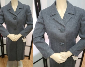 Vintage 1950s Suit Gray Wool Skirt Suit Cropped Jacket Large Buttons Pencil Skirt Whitley-ette Rockabilly S M waist 27.5 in.