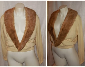 Vintage 1950s Sweater Beige Cashmere Honey Brown Mink Fur Collar Cardigan Strickjacke Pam Stewart Rockabilly Pinup S M chest to 38 inches