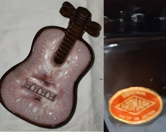 Vintage Guitar Ashtray 1950s 60s Pink Brown Ceramic Guitar Shape Ashtray Original Artmark Made in Japan Rockabilly 7.5 inches high
