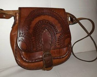 Vintage Tooled Leather Purse 1970s Brown Leather Bag Geometric Designs Buckle Strap Hippie Boho