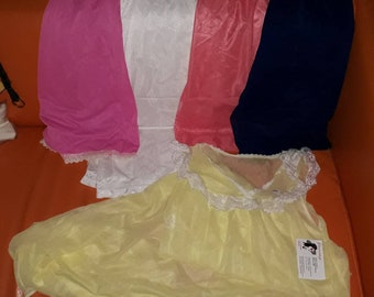 Lot of Unworn 1960s 70s Nylon Lace Half Slips Pink Blue White + Long Yellow Nylon Nightgown Rockabilly Pinup S M
