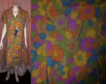 Unworn Vintage Dress 1970s Bright Psychedelic Floral Print Thin Polyester Crepe NWOT Mod XL chest to 42 in.